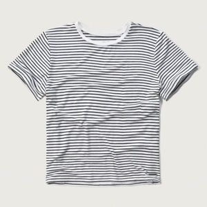 Abercrombie & Fitch Striped Cropped Crew Tee